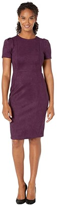 Calvin Klein Short Sleeve Sheath Dress (Aubergine) Women's Dress