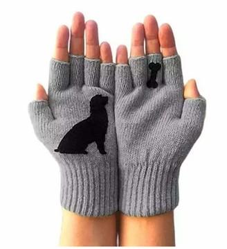 Skag Skang Women Ladies Cute Dog Bones Printing Knit Crochet Gloves Half Finger Gloves Winter Fingerless Gloves