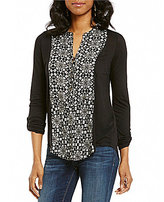 Lucky Brand Long Sleeve Printed Mix Henley Knit Top