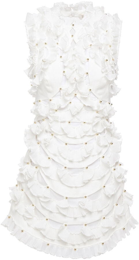 Thumbnail for your product : Zimmermann Studded Ruffled Canvas And Ribbed-knit Mini Dress