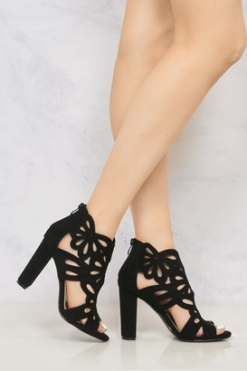 Miss Diva Sicily Laser Cut Suedette Peep Toe Block High Heel in Black Suede