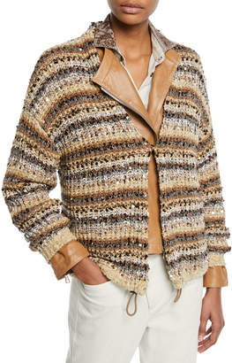 Brunello Cucinelli Sequined Striped Cotton-Net Cardigan