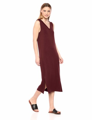 Daily Ritual Supersoft Terry Sleeveless V-Neck Midi Dress Casual