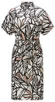 HUGO BOSS Printed Viscose Linen Shirt Dress Holera 10 Patterned