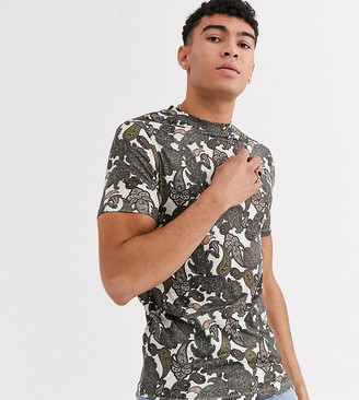 Asos Design DESIGN Tall skinny t-shirt with all over paisley print-Multi