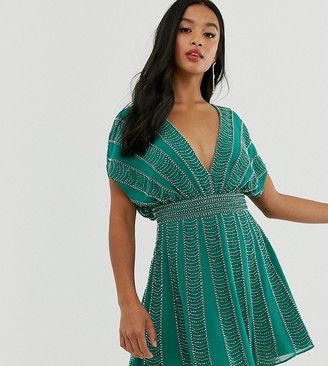 Asos DESIGN Petite mini skater dress in linear beading and sequin-Green