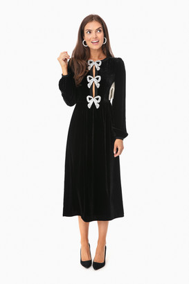 Saloni Black Camille Bows Dress