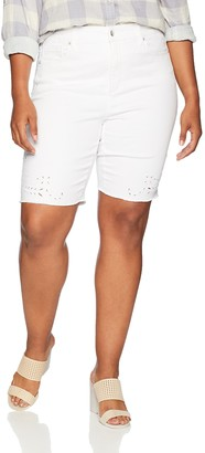 NYDJ Women's Plus Size Briella Short with Eyelet Embroidery