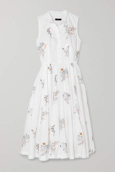 J.Crew Maison Embellished Embroidered Cotton-poplin Midi Dress - White