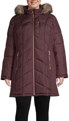 Liz Claiborne Hooded Heavyweight Puffer Jacket-Plus