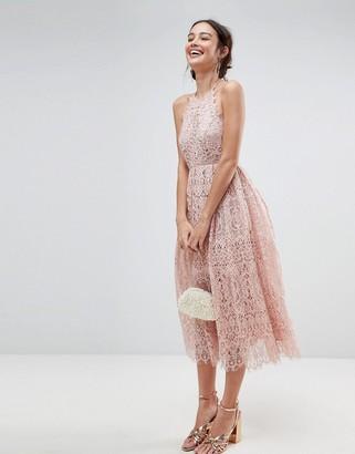 Asos Design ASOS Lace Pinny Scallop Edge Midi Prom Dress