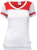Soffe White & Red Burnout Jersey Tee