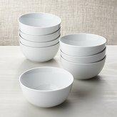 Crate & Barrel White Porcelain Cereal Bowls Set of 8