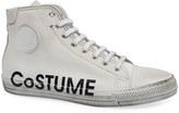 CNC Costume National Men's High-Top Leather Logo Sneakers w/ Dirty Treatment