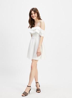 Miss Selfridge Ivory Bardot Scuba Mini Dress