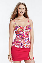 Lands' End Women's Long Mastectomy Beach Living Adjustable Top-Deep Sea Paisley
