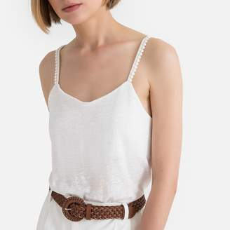 La Redoute Collections Linen Braided Vest Top with Shoestring Straps