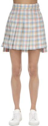 Thom Browne Pleated Check Wool Mini Skirt