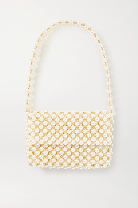 VANINA + Net Sustain The Pearl Mist Faux Pearl And Gold-plated Shoulder Bag - White