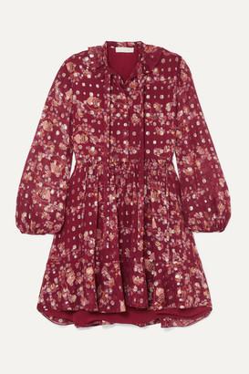 Chloé Tie-neck Ruffled Floral-print Fil Coupe Silk-chiffon Mini Dress - Burgundy