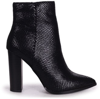 Linzi LUCY - Black Lizard Ankle Boot With Stacked Block Heel