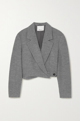 3.1 PHILLIP LIM - Cropped Melange Wool Blazer - Gray