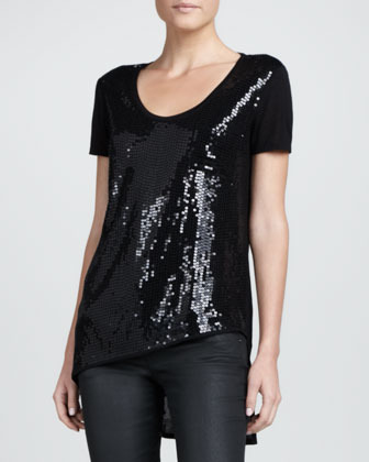 DKNY Sequined-Front Asymmetric Tee