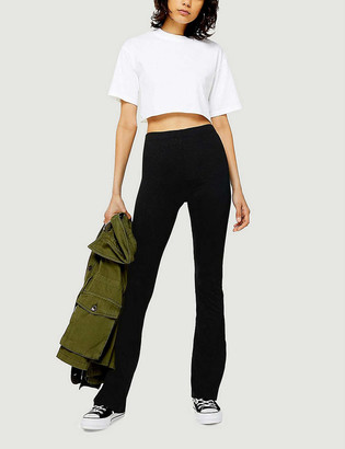 Topshop Ribbed skinny stretch-jersey flared trousers