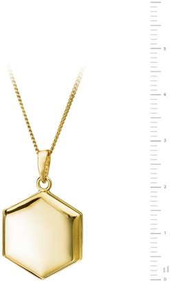 The Love Silver Collection Gold Plated Sterling Silver Hexagon Locket Pendant Necklace