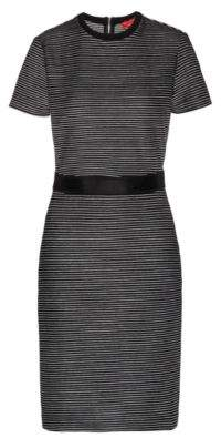 HUGO Slim-fit jersey dress with two-tone stripe