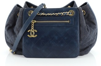 Chanel Drawstring Shoulder Bag Quilted Denim and Aged Calfskin Medium