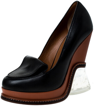 Fendi Black Leather Wedge Platform Pumps Size 36