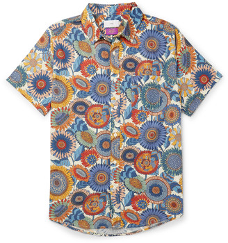 Onia Jack Button-Down Collar Printed Linen And Cotton-Blend Shirt
