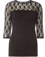 Dorothy Perkins Womens **Tall Black Lace 3/4 Sleeve Top- Black