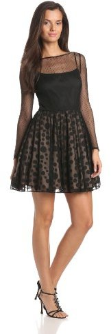 Aidan Mattox Aidan by Women's Long Sheer Sleeve Fit and Flare Dress