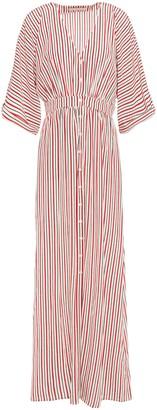 Vanessa Bruno Gathered Striped Silk Crepe De Chine Maxi Dress