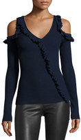 Jason Wu Ruffled Knit Cold-Shoulder Sweater, Blue
