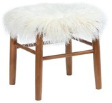 Threshold Faux Fur Accent Stool - White