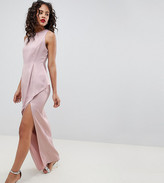 Asos DESIGN Tall satin maxi dress with asymmetric layered skirt