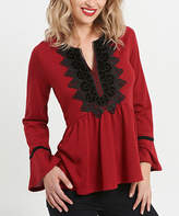 August Silk Red & Black Velvet-Accent Bell-Sleeve Top