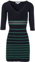 Morgan Openwork Striped Knit Dress