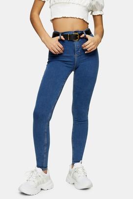 Topshop Womens Mid Blue Belt Loop Joni Jeans - Mid Stone