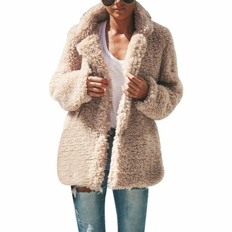 Adisputent Womens Coats Teddy Beat Jackets Fleece Fluffy Lapel Long Sleeved Velvet Oversized Winter Outwear Cardigans(BeigeXL)