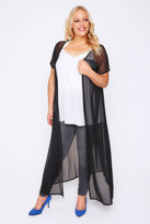 Yours Clothing Black Mesh Maxi Cardigan With Short Sleeves