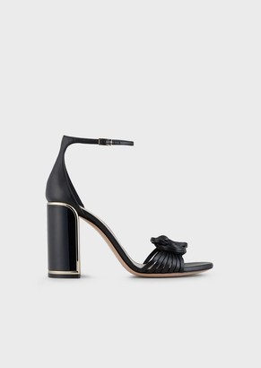 Giorgio Armani Nappa Leather Sandals With A Knot And Lacquered Art Deco Style Heel