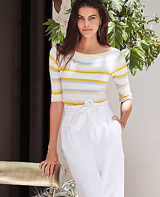 Ann Taylor Stripe Ribbed Off The Shoulder Sweater