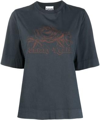 Ganni rose-print T-shirt