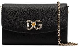 Dolce & Gabbana Crystal-Embellished Leather Logo Mini Bag