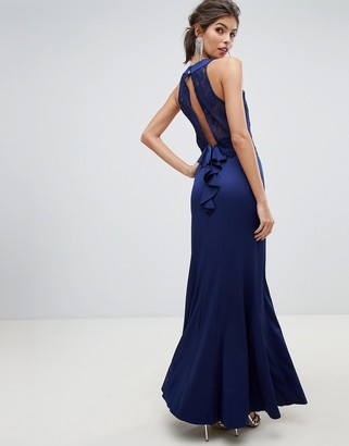 Little Mistress lace overlay bodice 2 in 1 sheath maxi dress with exposed back.-Navy