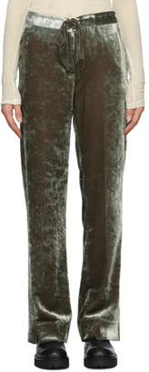 Ann Demeulemeester Green Crushed Velvet Trousers
